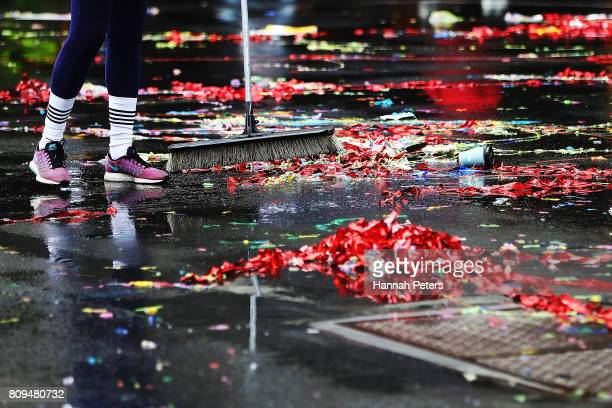 Clean up following the Team New Zealand Americas Cup Welcome Home Parade on July 6 2017 in Auckland New Zealand