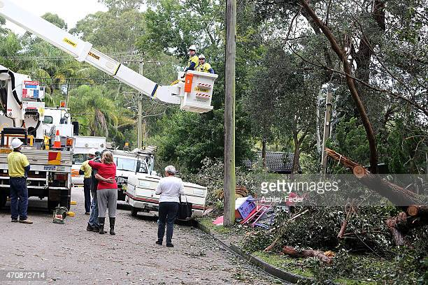 Clean up in North Avoca to fix power lines continues on April 24 2015 in Gosford Australia Gosford City and Wyong shire have official been declared...