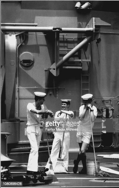Clean up on the HMAS Sydney Ready for the open ship at 1pm today Left to Right Tony Mahaffey 25 from Newcastle Aiden Clark 20 from Bright in Victoria...