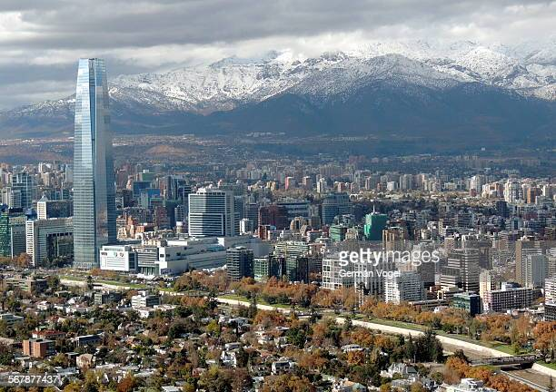 clean wide city skyline of santiago de chile - chile stock pictures, royalty-free photos & images