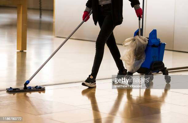 A cleaner at work late at night on November 7 2019 in Cardiff United Kingdom