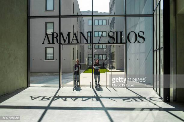 Cleaners are seen working prior the opening of Armani Silos on April 30 2015 in Milan Italy In 1975 Giorgio Armani launch his first collection And on...