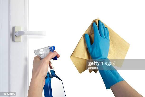 窓のクリーニング - ゴム手袋 ストックフォトと画像