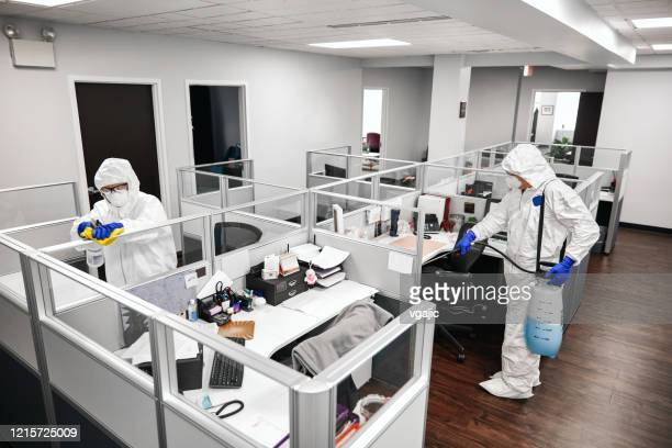 cleaning and disinfecting office - office cubicle stock pictures, royalty-free photos & images