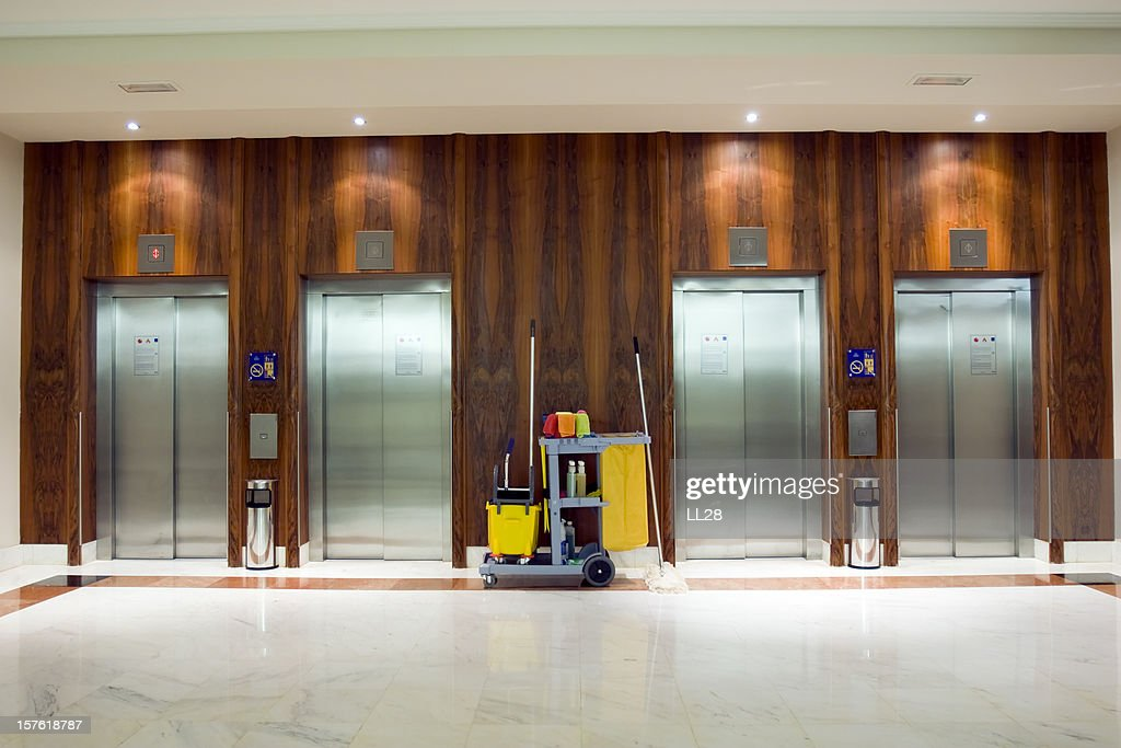 Cleaning Cart at the elevators : Stock Photo