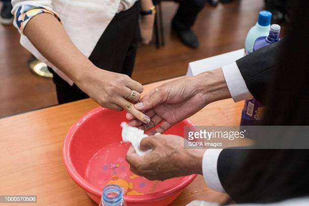 Cleaning demonstration has been performed in front of media to show how permanent the ink is National Electoral Comitee presented today the indelible...