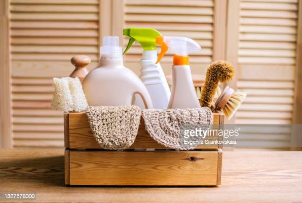 cleaning eco set for different surfaces in home. - cleaning agent stock pictures, royalty-free photos & images