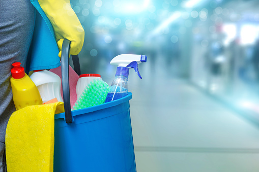 Cleaning lady with a bucket and cleaning products . 870219332