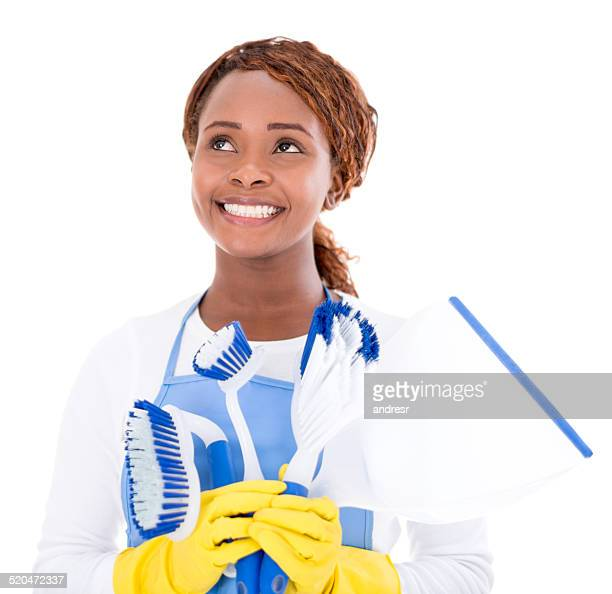 Cleaning lady with brushes