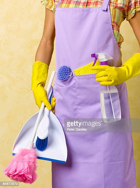 cleaning lady with cleaning materials - apron stock pictures, royalty-free photos & images