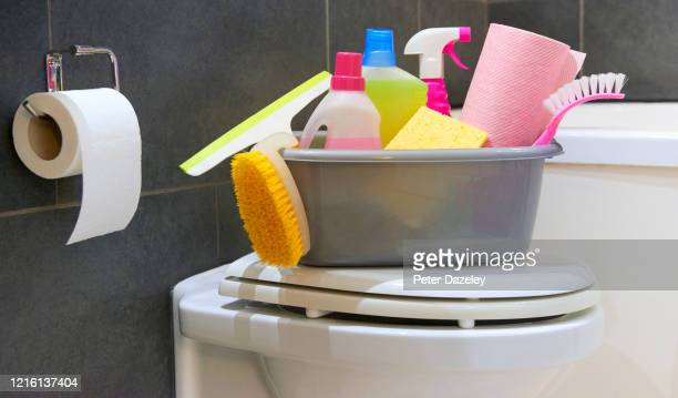 cleaning materials for deep clean of bathroom and toilet - antiseptic wipe stock pictures, royalty-free photos & images