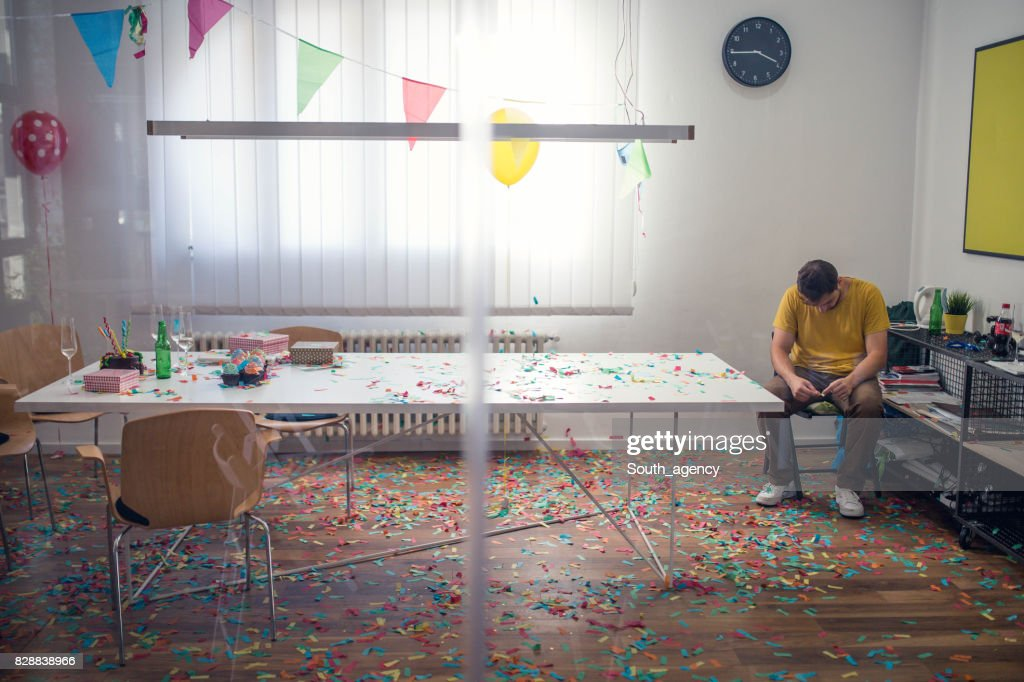 Cleaning mess after party : Stock Photo
