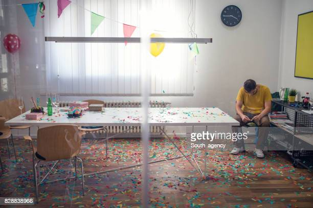 cleaning mess after party - work party stock pictures, royalty-free photos & images