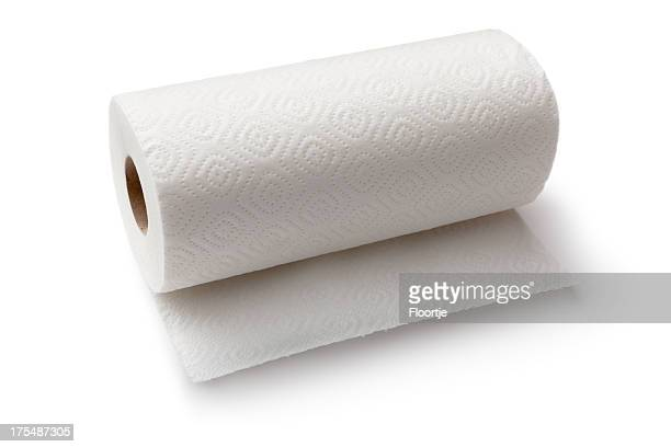 cleaning: paper towel roll isolated on white background - rolled up stock pictures, royalty-free photos & images