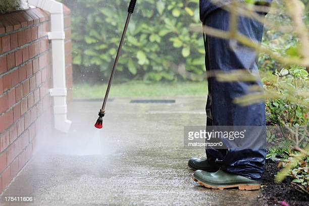cleaning path way with power pressure system - commercial cleaning stock photos and pictures