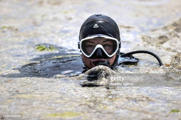 Cleaning process of sea snot continue at Caddebostan beach in Istanbul, Turkey on June 8, 2021.