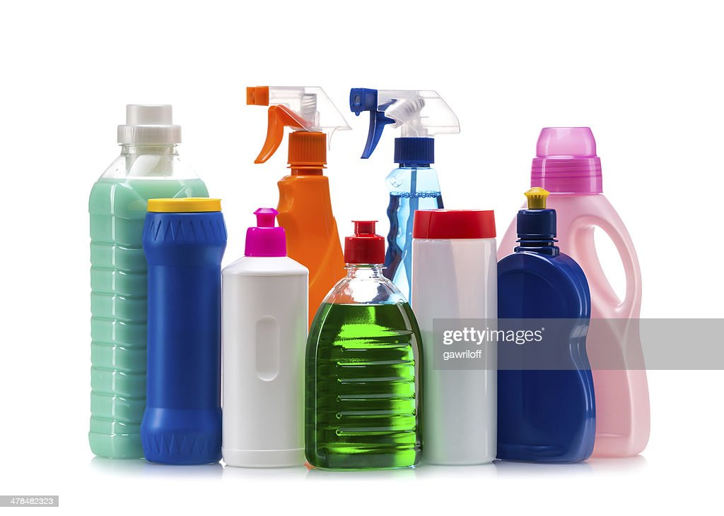 Cleaning product plastic container for house clean : Stock Photo