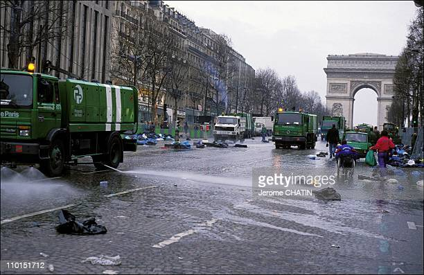 Cleaning services in Paris France in May 1992 Champs Elysees after the Paris marathon