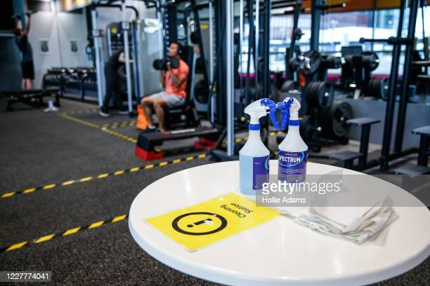 Cleaning station in the gym at London Aquatics Centre on July 25, 2020 in London, England. After further easing of the United Kingdom's coronavirus...