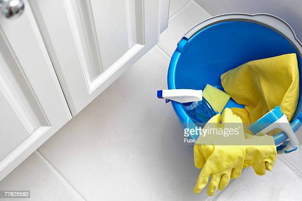cleaning supplies in bucket - daily bucket stock pictures, royalty-free photos & images