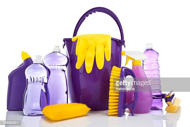 cleaning supplies - purple glove stock pictures, royalty-free photos & images