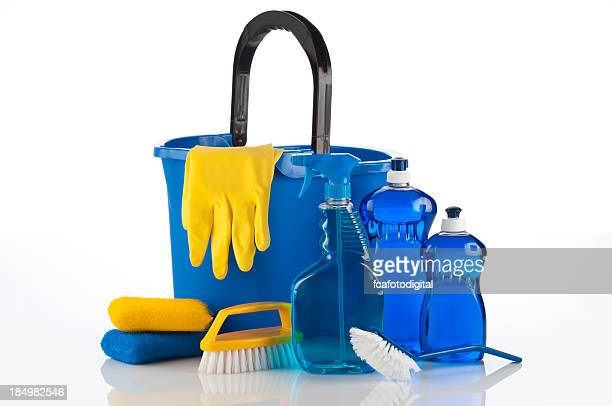 cleaning supplies - green glove stock photos and pictures
