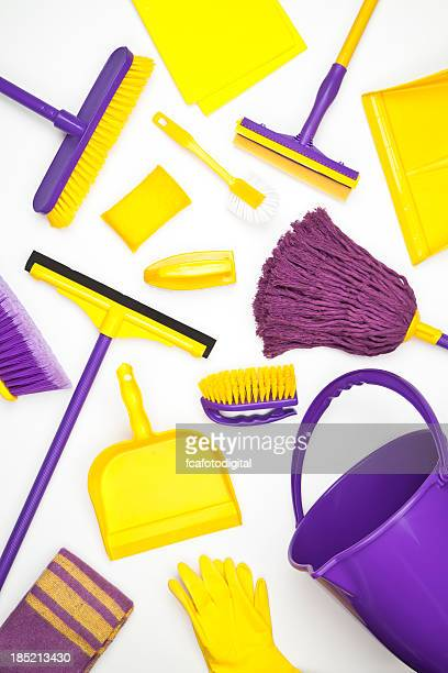 cleaning supplies - broom stock pictures, royalty-free photos & images