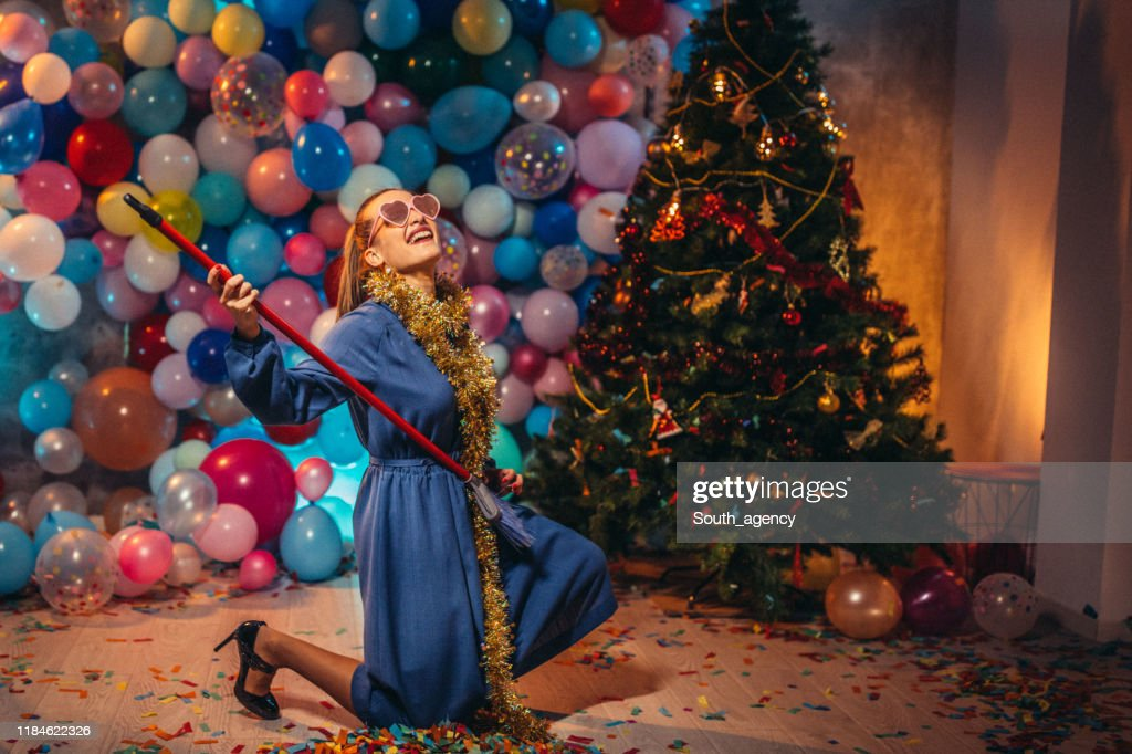 Cleaning the house after new year party : Stock Photo