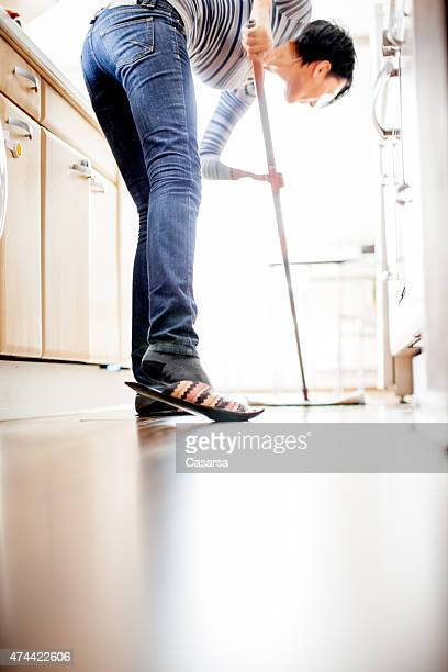Cleaning the kitchen floor