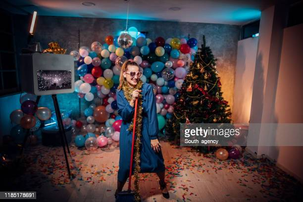 cleaning the mess after new year party - clean up after party stock pictures, royalty-free photos & images