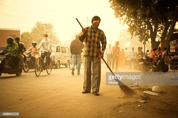 cleaning the road in india - city cleaning stock pictures, royalty-free photos & images