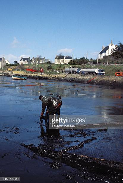 Cleaning up Portsall due to the sinking of the Amoco Cadiz in Portsall, France in March, 1978.