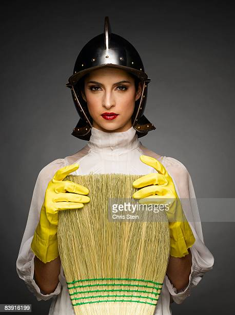 cleaning woman warrior  - broom stock pictures, royalty-free photos & images