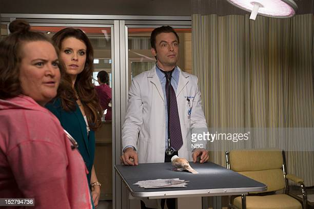"""Clean-Smelling Pirate"""" Episode 103 -- Pictured: Betsy Sodaro as Angela, JoAnna Garcia Swisher as Dorothy Crane, Justin Kirk as Dr. George Coleman --"""
