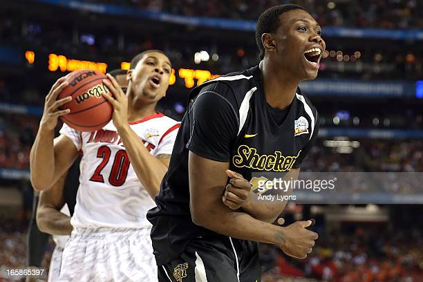 Cleanthony Early of the Wichita State Shockers reacts in the secon dhalf against Wayne Blackshear of the Louisville Cardinals during the 2013 NCAA...