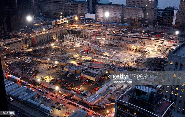 Cleanup and recovery efforts continue at the site of the World Trade Center disaster February 15 2001 in New York City
