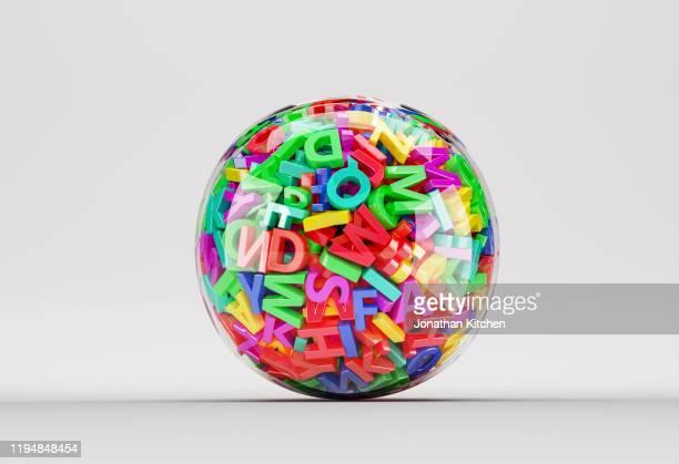 clear ball letters - text schriftsymbol stock-fotos und bilder