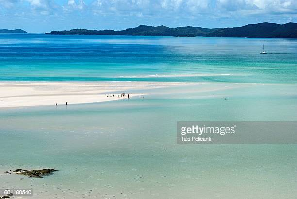 clear blue sea at whitehaven beach, whitsunday islands, australia, oceania - whitehaven beach stock-fotos und bilder