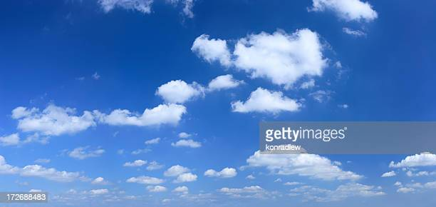 xxxl clear blue sky panorama - wispy stock photos and pictures