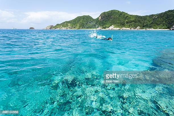 Clear blue tropical water with snorkeler, Kerama Islands National Park