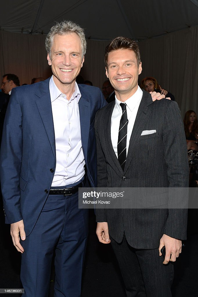 Clear Channel's John Sykes and Ryan Seacrest arrive at City Of Hope Honors Clear Channel CEO Bob Pittman With Spirit Of Life Award - Red Carpet at The Geffen Contemporary at MOCA on June 12, 2012 in Los Angeles, California.