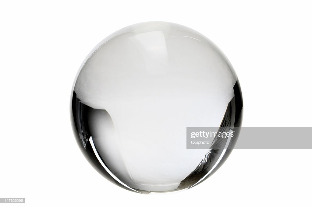 Clear crystal ball on a white background : Stock Photo