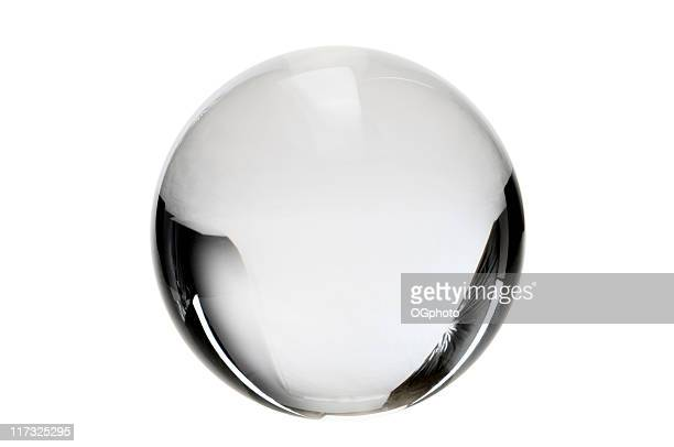 clear crystal ball on a white background - ogphoto stock pictures, royalty-free photos & images