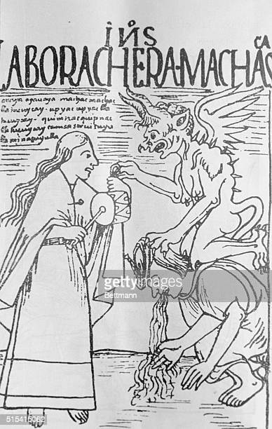 Clear delineation of gastric disorder Over him a demon symbolizing pain in front of him Indian woman with tambourine probably allegorical...