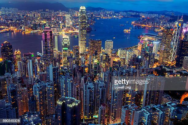clear evening in hong kong - star ferry stock photos and pictures