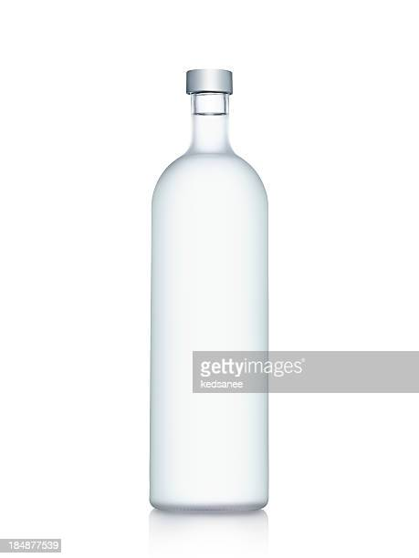 Clear glass bottle of water isolated on white background