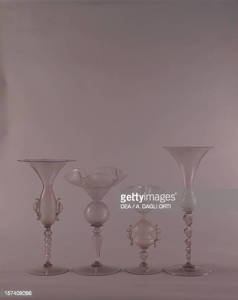Clear glass goblets. Italy, 17th century. Murano, Museo D'Arte Vetraria .