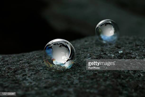clear globes by soap bubbles