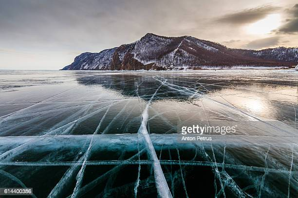 Clear ice on Lake Baikal