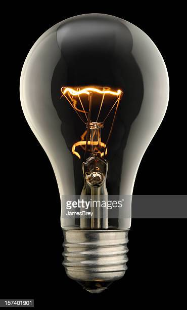 Clear Lightbulb On Black With Clipping Path